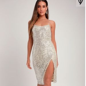 Lulu's Sexy Silver Midi Dress Sequin